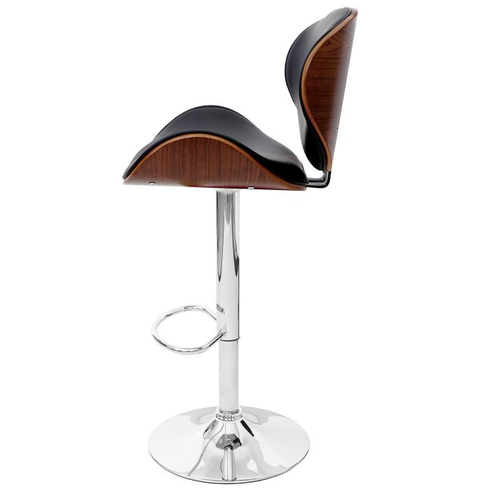 Barhocker Design foxrock barstuhl holz bugholz retro design walnuss optik schwarz