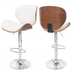 Barhocker Foxrock, Barstuhl, Holz Bugholz Retro-Design ~ Walnuss-Optik, creme