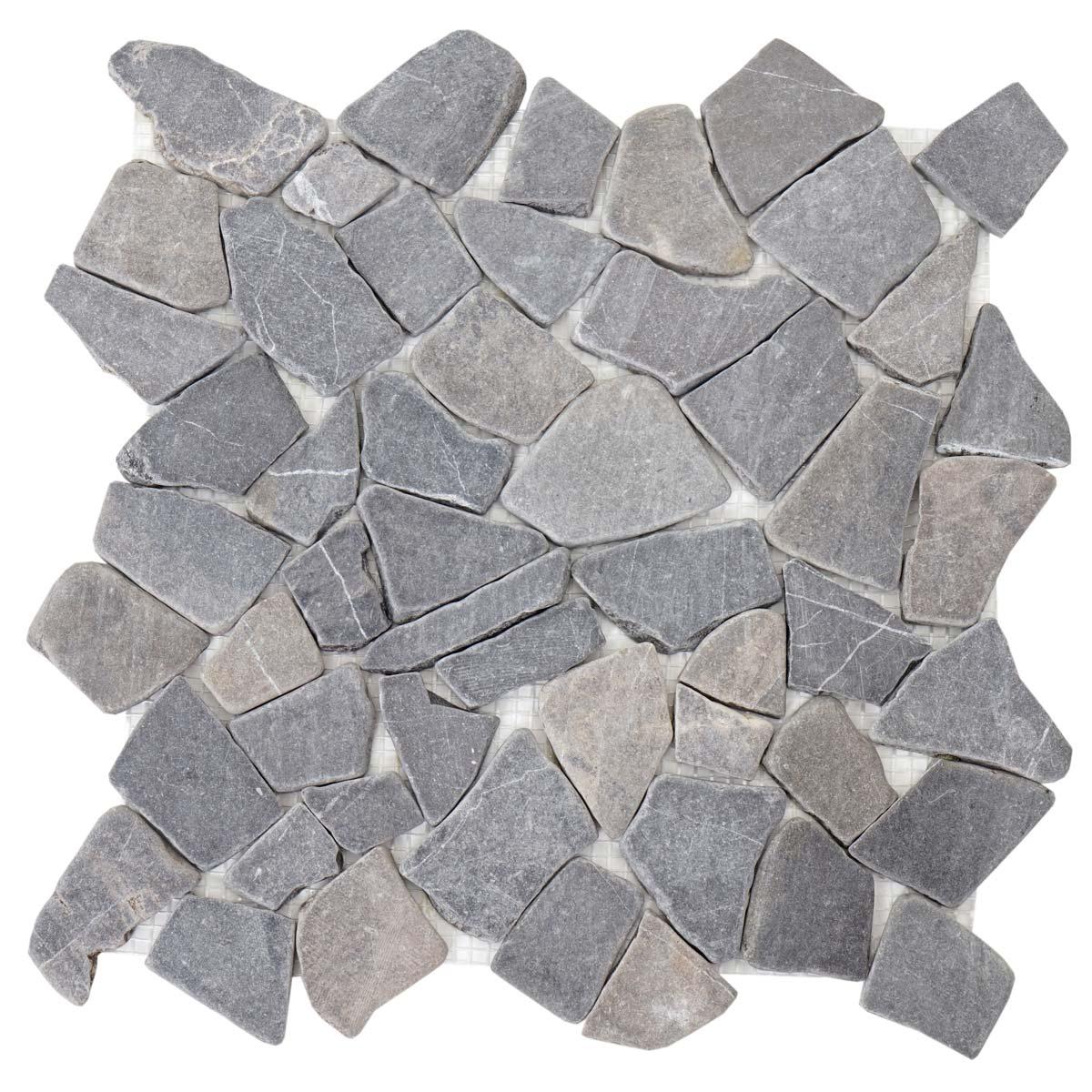 Steinfliesen  Vigo T687, Marmor Naturstein-Fliese Mosaik, 11 Stück je 30x30cm ...