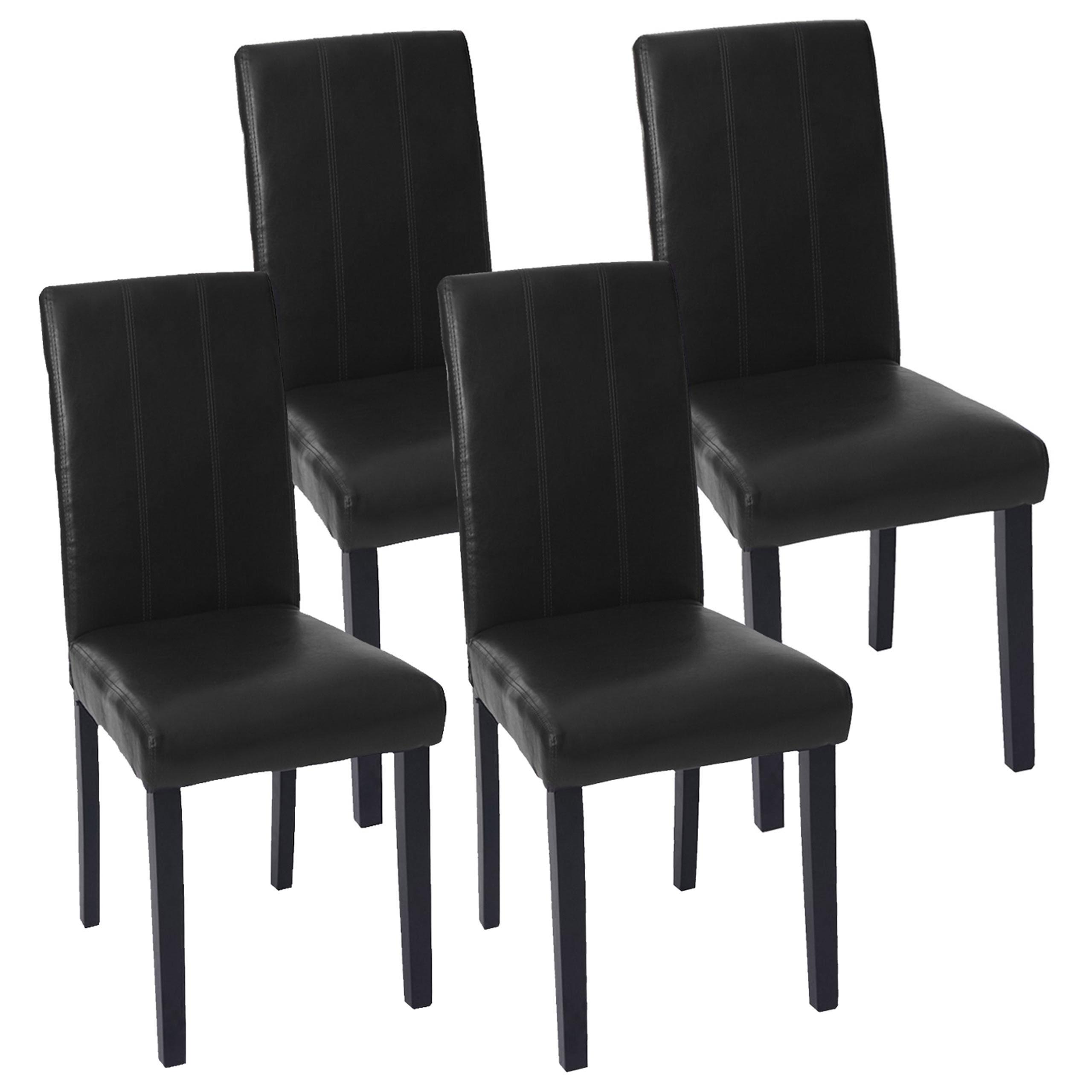 4x esszimmerstuhl florina stuhl lehnstuhl kunstleder schwarz dunkle beine. Black Bedroom Furniture Sets. Home Design Ideas