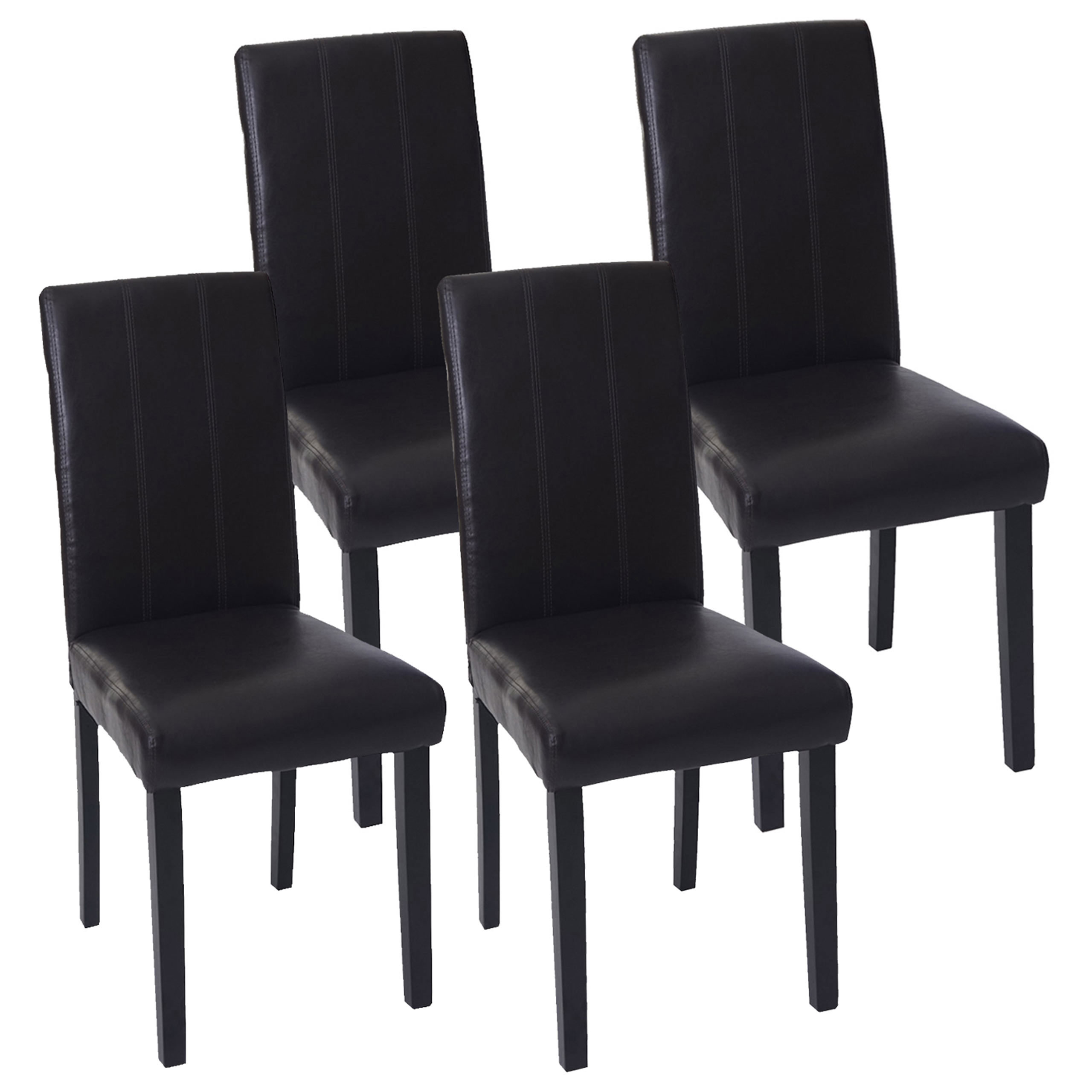 4x esszimmerstuhl florina stuhl lehnstuhl kunstleder braun dunkle beine. Black Bedroom Furniture Sets. Home Design Ideas