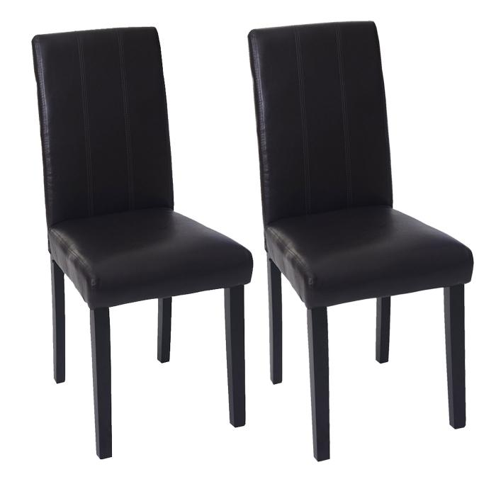 2x esszimmerstuhl florina stuhl lehnstuhl kunstleder braun dunkle beine. Black Bedroom Furniture Sets. Home Design Ideas