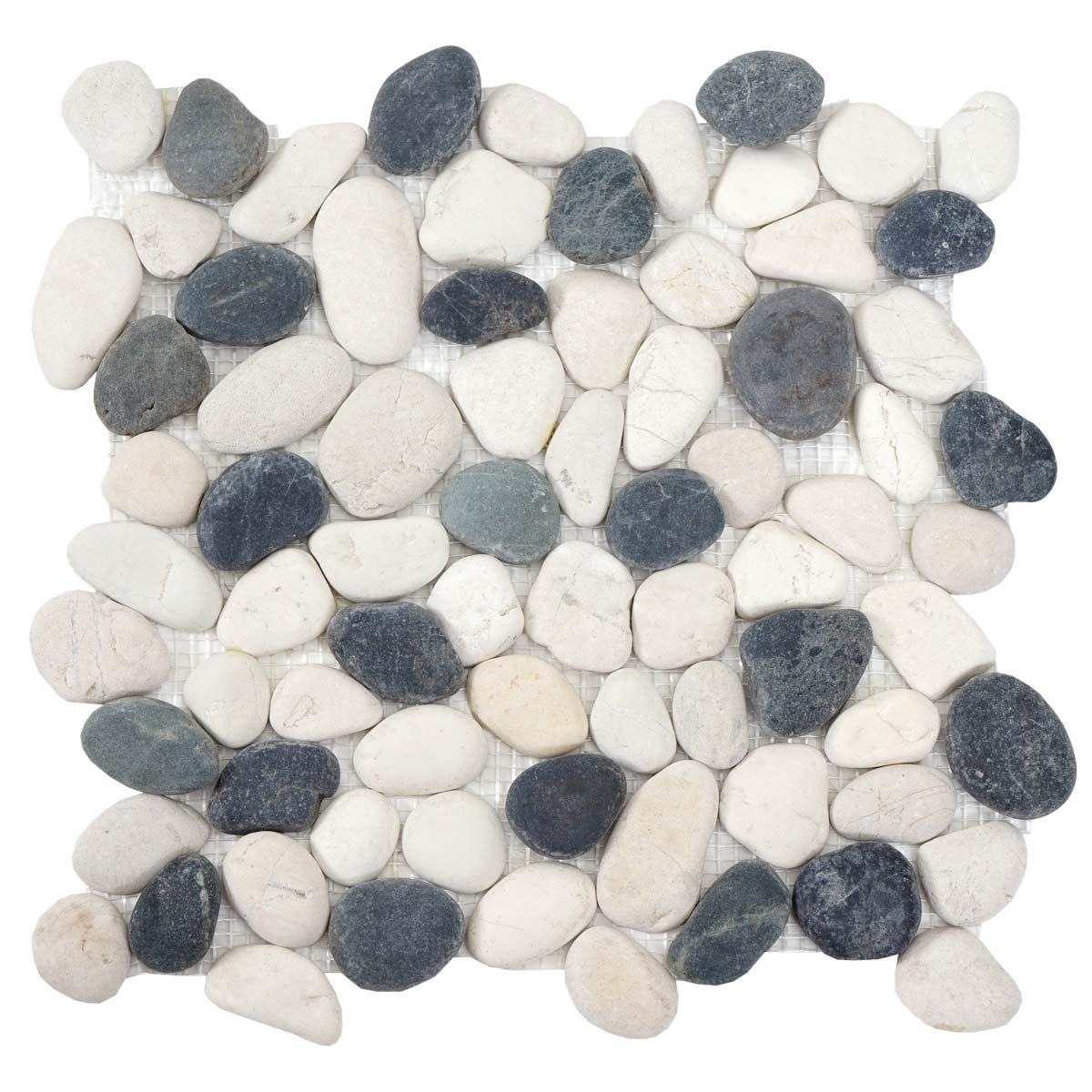 Mendler Steinfliesen Vigo T689, Naturstein-Fliese Mosaik Kieselsteine, 11 Stück je 30x30cm = 1qm ~ Varianten 50429