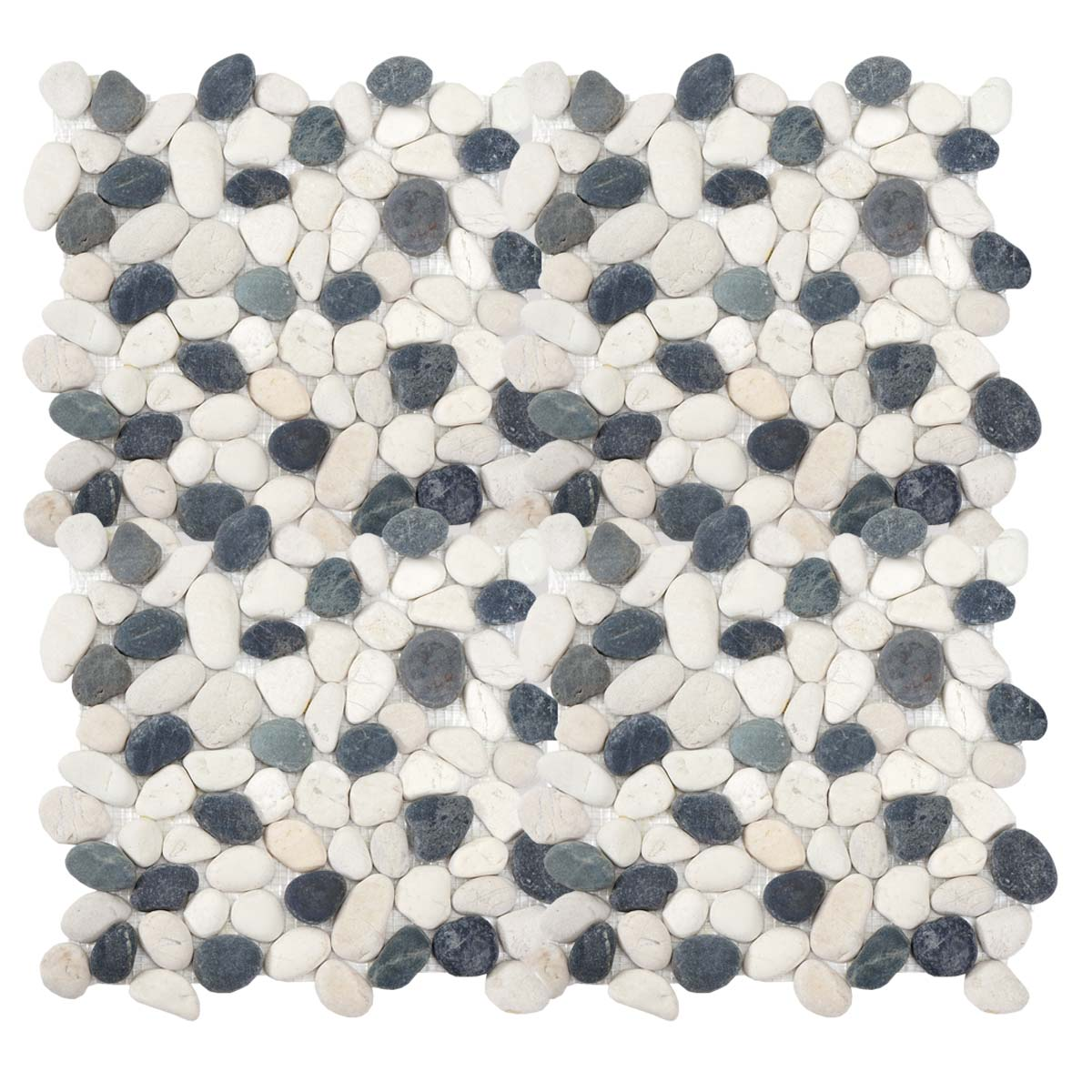 1qm Steinfliesen Leon H689 Naturstein-Fliese Kieselsteine 11 Stück grau-weiß