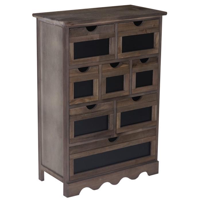 kommode ermelo schubladenschrank mit tafel shabby look vintage 87x60x30cm braun. Black Bedroom Furniture Sets. Home Design Ideas