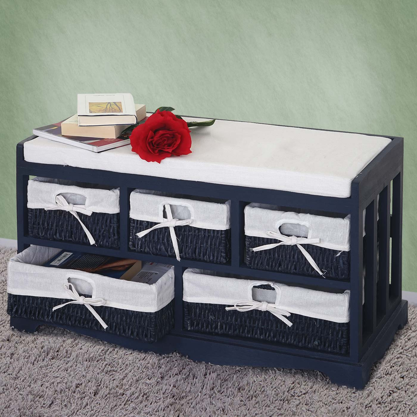 kommode und sitzbank mit 5 schubladen 77x45x36cm shabby. Black Bedroom Furniture Sets. Home Design Ideas