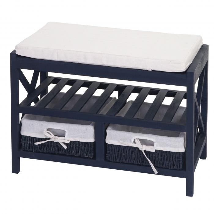 schuhregal sitzbank 45x65x34cm shabby look vintage blau. Black Bedroom Furniture Sets. Home Design Ideas