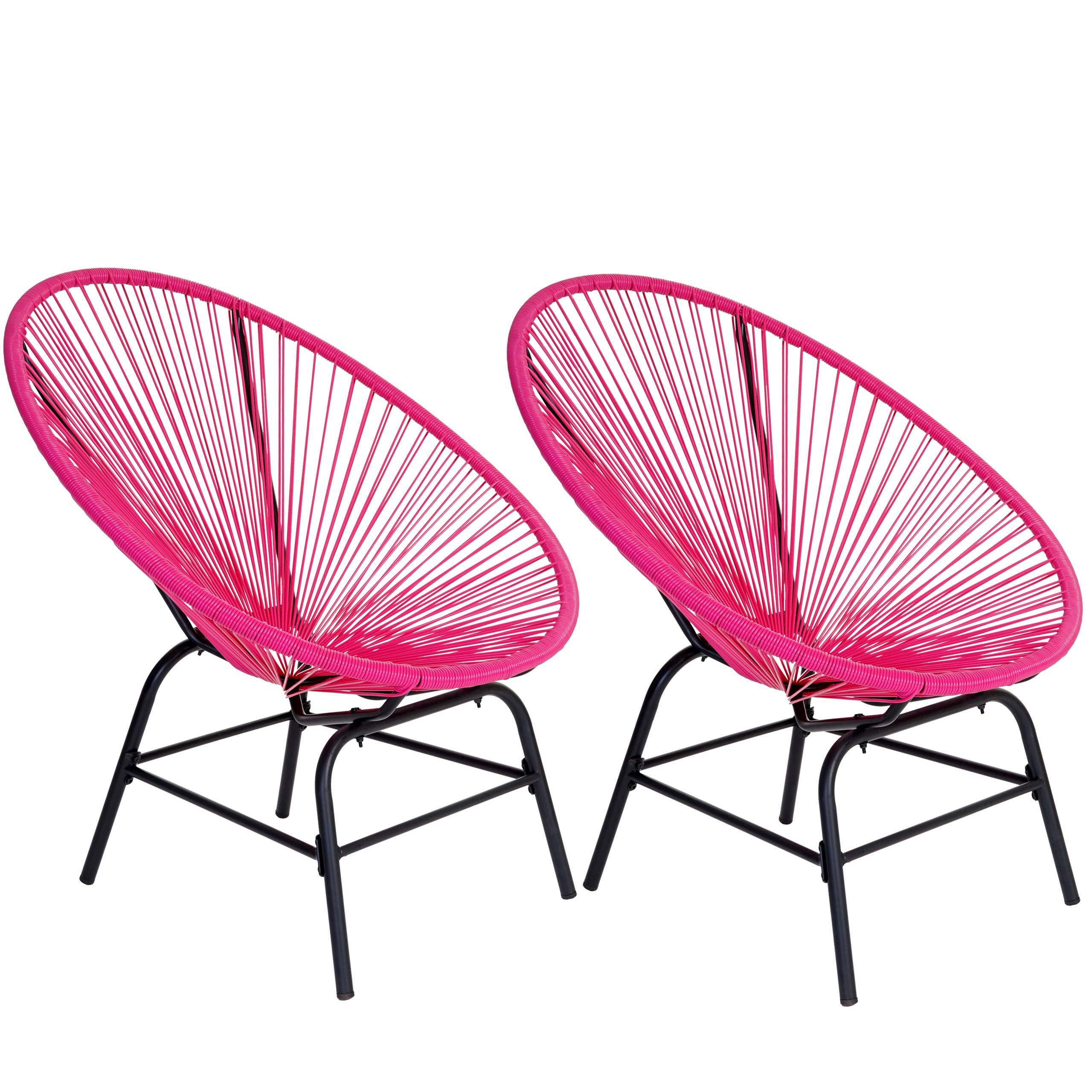 2x poly rattan gartensessel suzano spaghetti stuhl 70er retro pink ebay. Black Bedroom Furniture Sets. Home Design Ideas