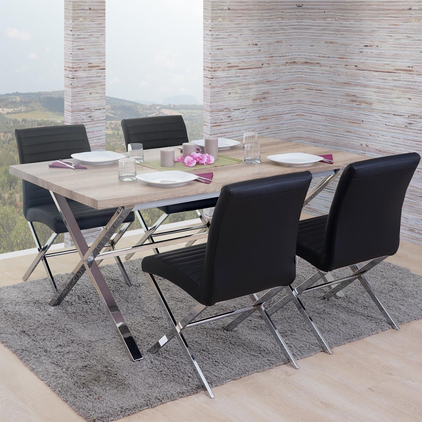 esszimmergarnitur fano tisch 4 st hle 3d struktur. Black Bedroom Furniture Sets. Home Design Ideas
