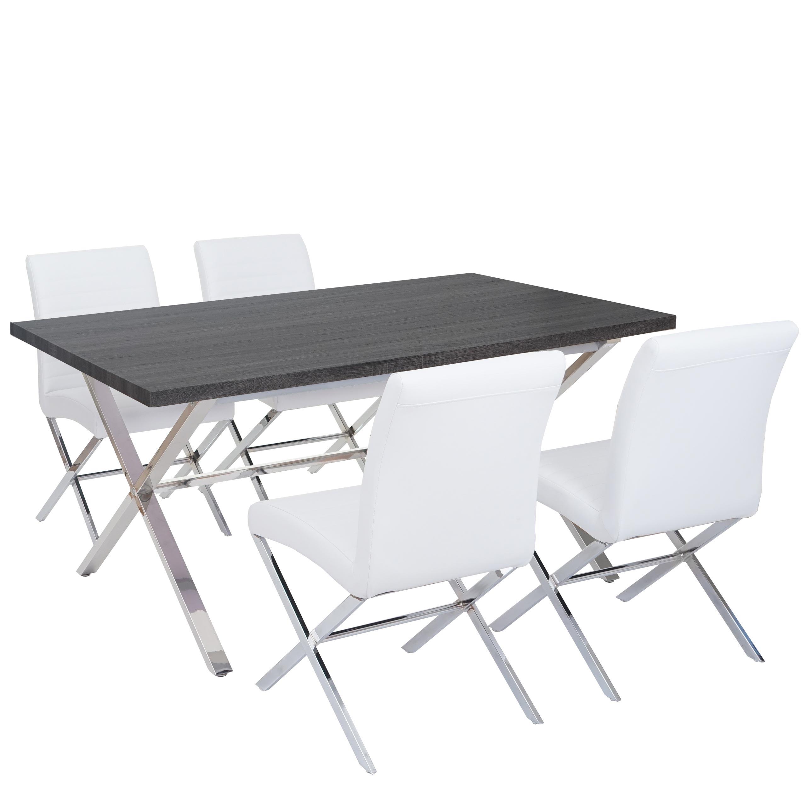Esszimmergarnitur Fano, Essgruppe Tisch + 4 Stühle, 3D-Struktur ...