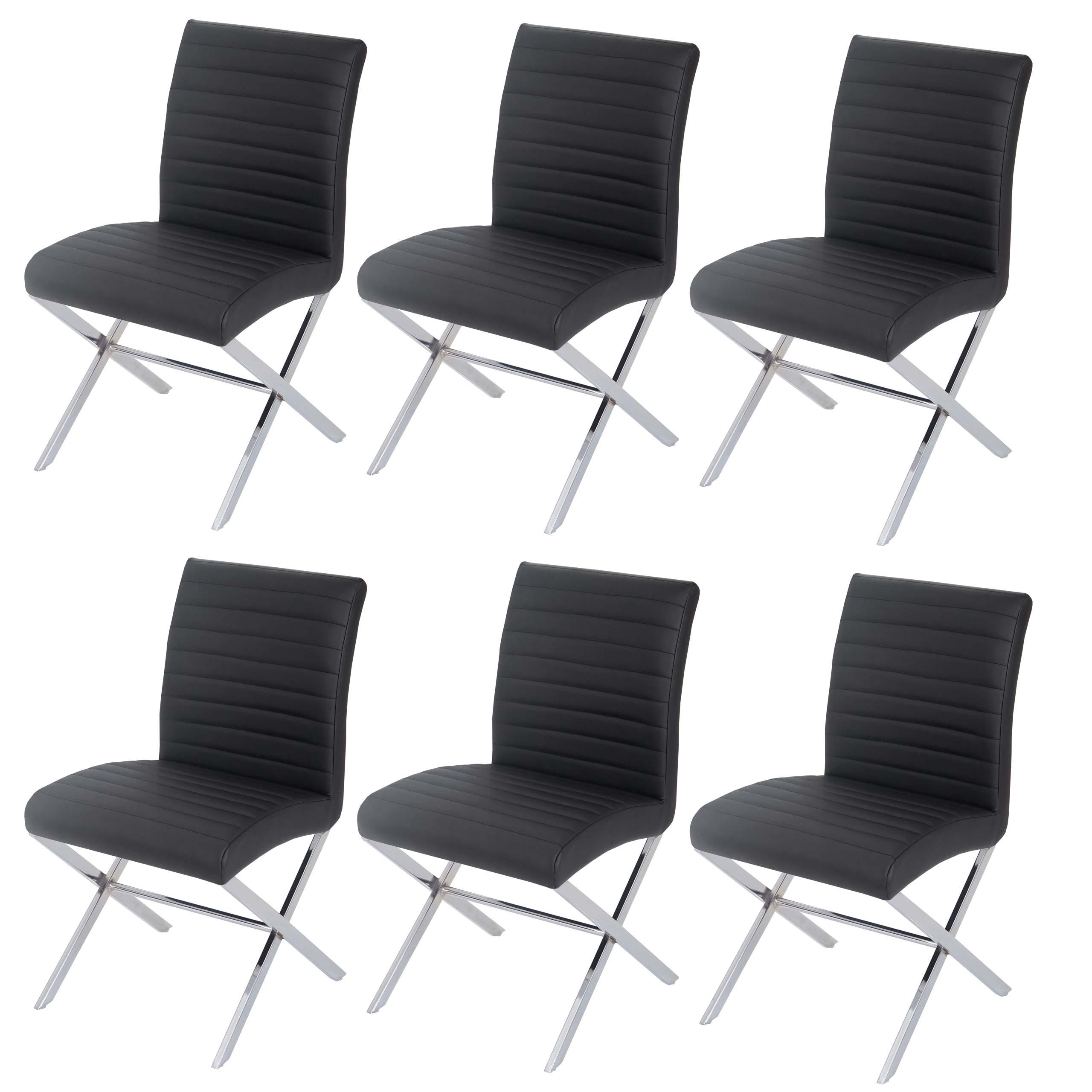 6x esszimmerstuhl fano stuhl lehnstuhl kunstleder chrom schwarz. Black Bedroom Furniture Sets. Home Design Ideas