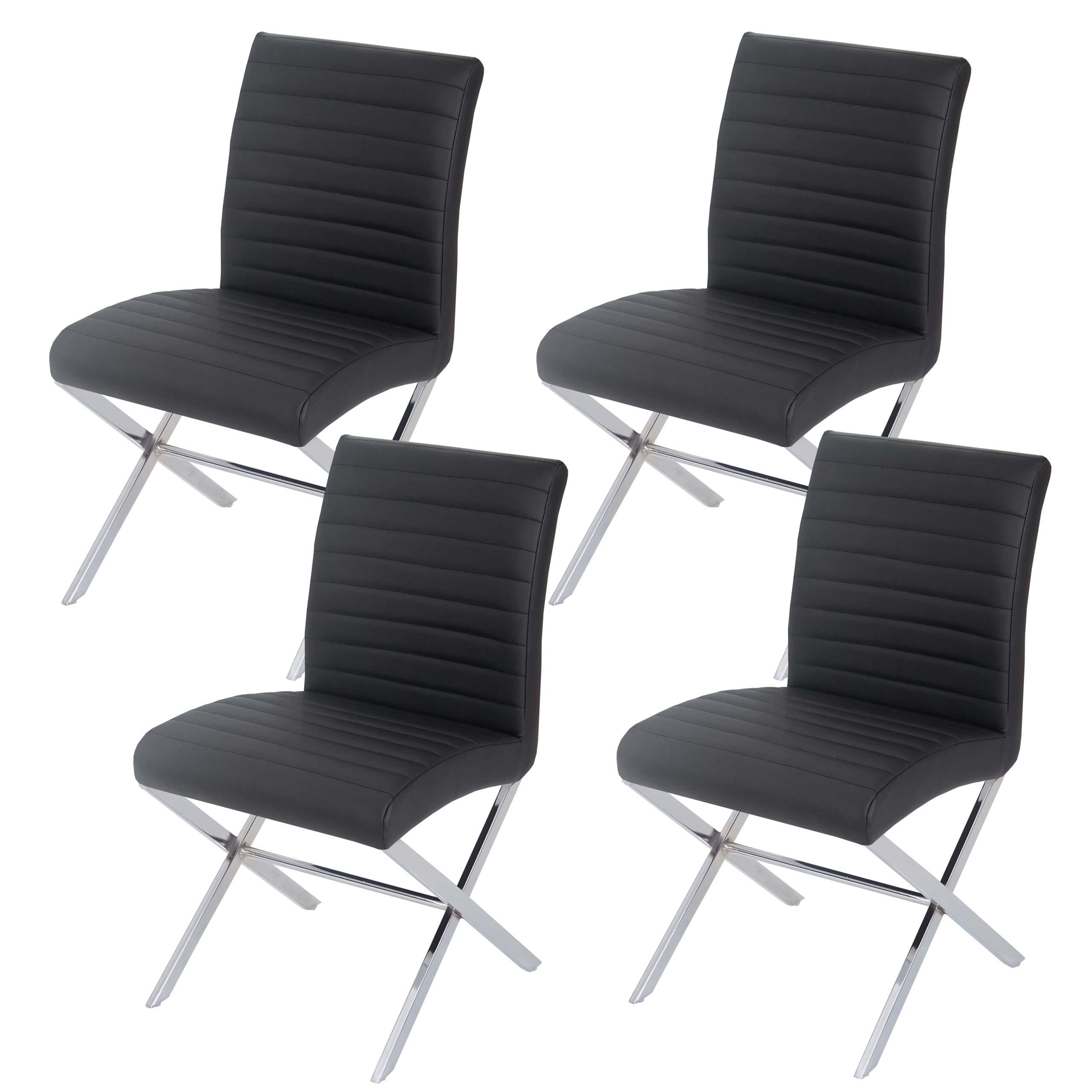 4x esszimmerstuhl fano stuhl lehnstuhl kunstleder chrom schwarz. Black Bedroom Furniture Sets. Home Design Ideas