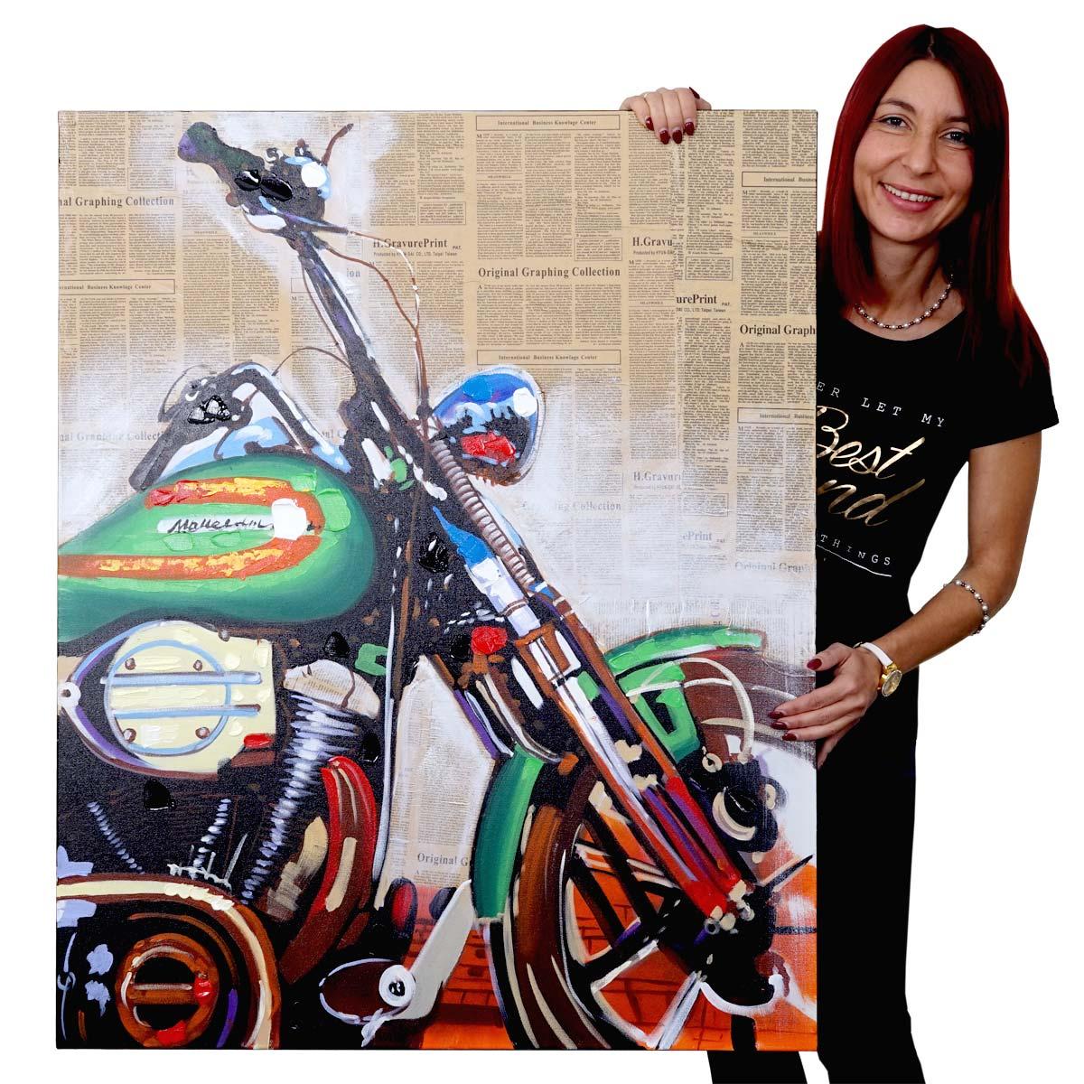 Mendler Ölgemälde Motorrad, 100% handgemaltes Wandbild Gemälde XL, 80x100cm ~ Variantenangebot 51270