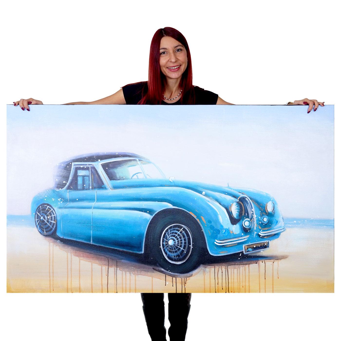 Mendler Ölgemälde Oldtimer, 100% handgemaltes Wandbild Gemälde XL, 140x80cm ~ Variantenangebot 51271
