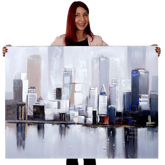 lgem lde skyline new york 100 handgemaltes wandbild gem lde xl 120x90cm. Black Bedroom Furniture Sets. Home Design Ideas