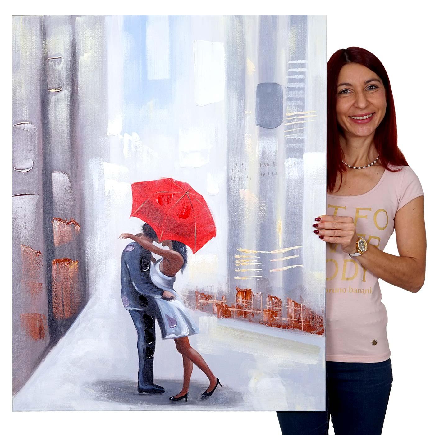 Mendler Ölgemälde Paar, 100% handgemaltes Wandbild Gemälde XL, 100x80cm ~ Variantenangebot 51277