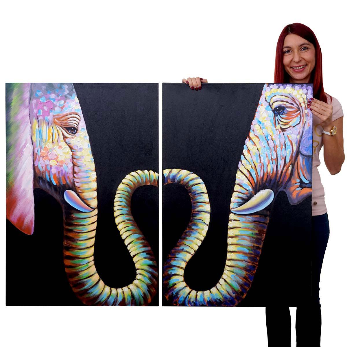 Mendler Ölgemälde 2x Elefant, 100% handgemaltes Wandbild Gemälde XL, 90x60cm ~ Variantenangebot 51280