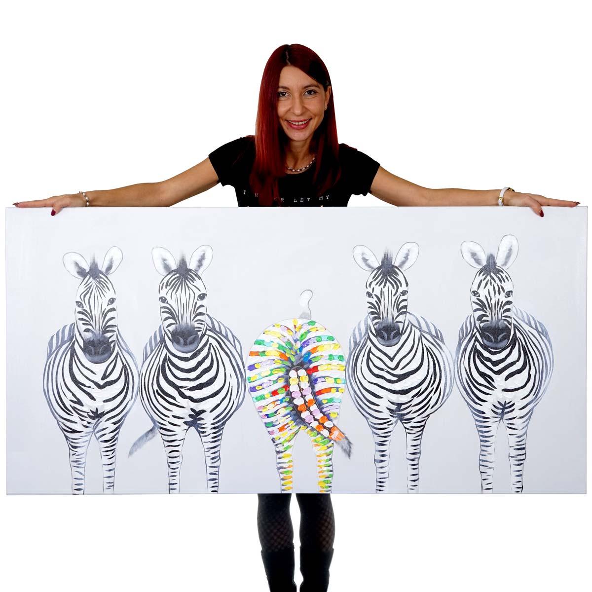 Mendler Ölgemälde Zebras II, 100% handgemaltes Wandbild Gemälde XL, 140x70cm ~ Variantenangebot 51283