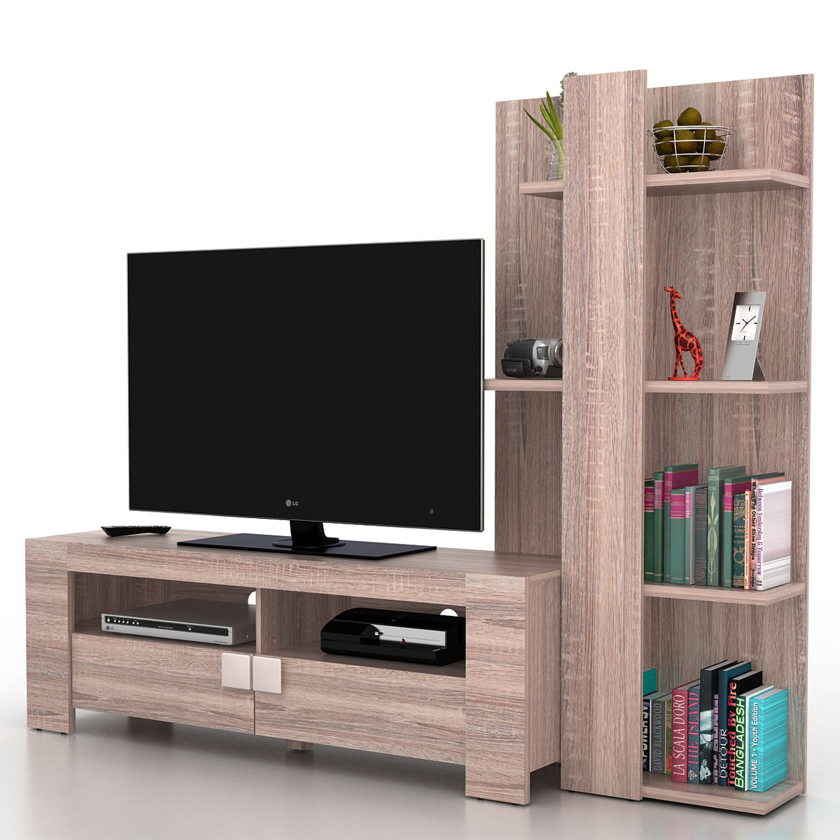 wohnwand lisburn wandregal raumteiler schrankwand 3d struktur eiche optik 199x160x42cm. Black Bedroom Furniture Sets. Home Design Ideas