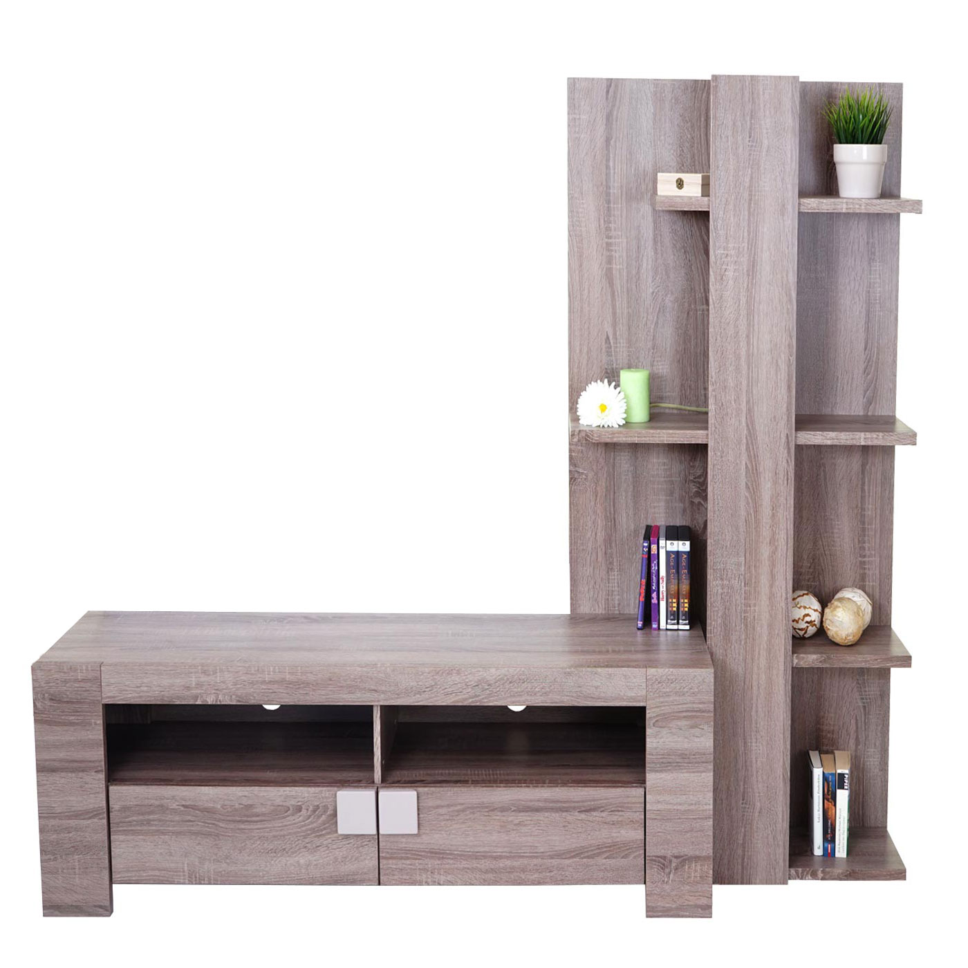 wohnwand lisburn wandregal raumteiler schrankwand 3d struktur 199x160x42cm ebay. Black Bedroom Furniture Sets. Home Design Ideas