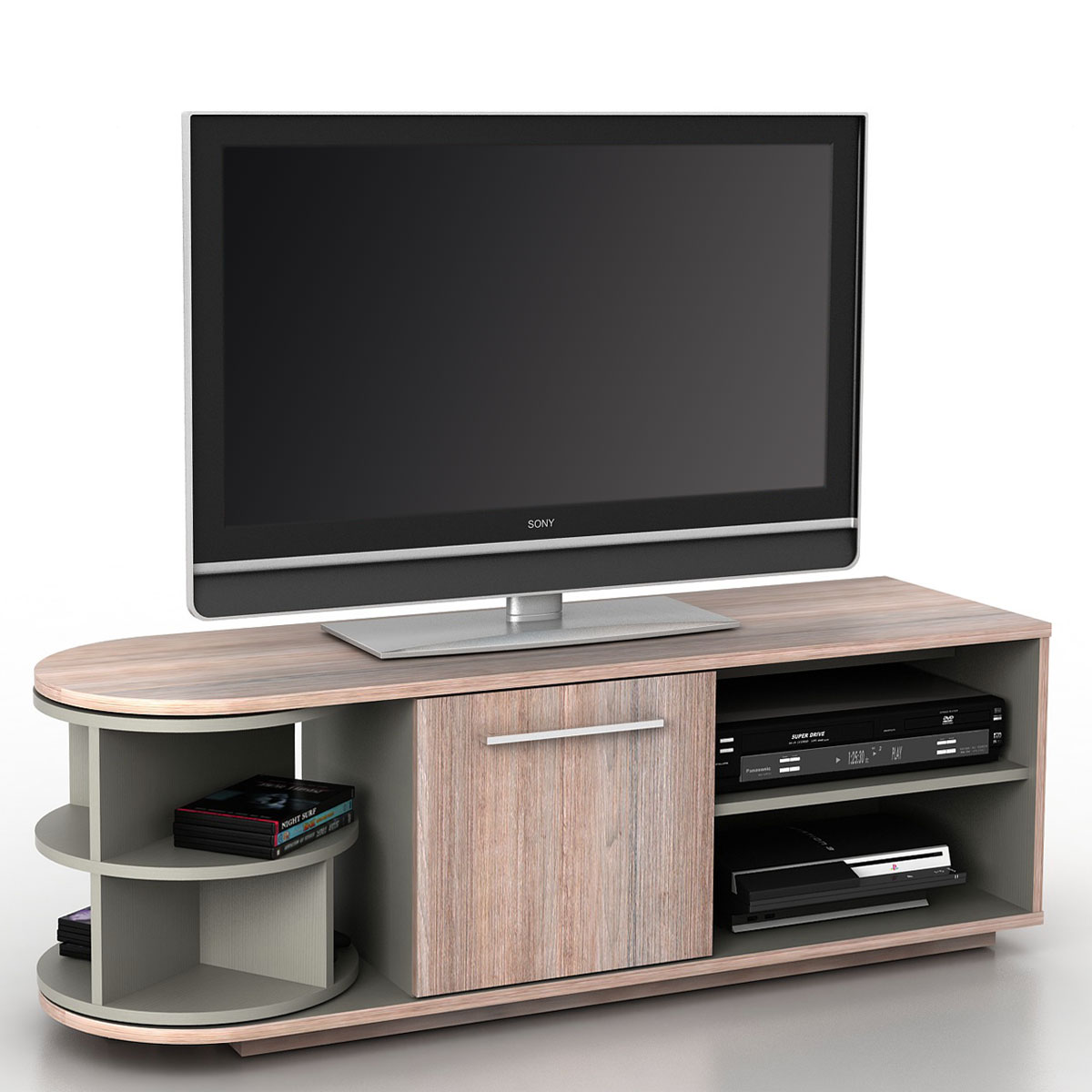 tv lowboard arau tv rack fernsehtisch mit drehelement 120x45x40cm eiche optik 3d struktur. Black Bedroom Furniture Sets. Home Design Ideas