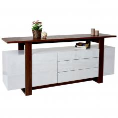 Kommode HWC-B51, Sideboard Highboard Schrank, 3D-Struktur Hochglanz 80x180x45cm ~ Walnuss-Optik