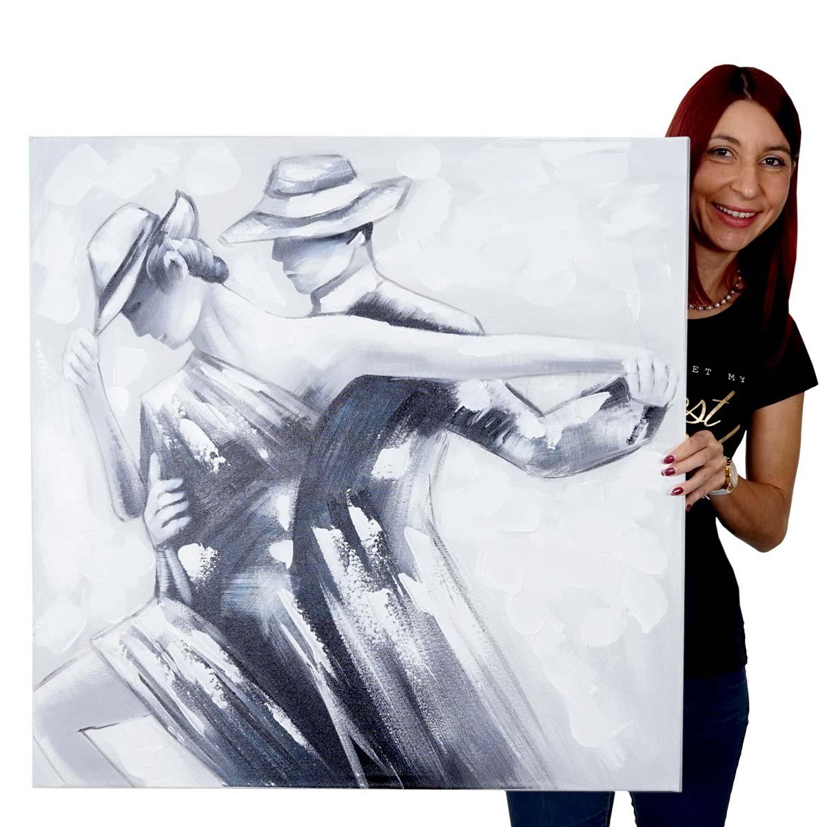 Mendler Ölgemälde Tanzpaar, 100% handgemaltes Wandbild Gemälde XL, 80x80cm ~ Variantenangebot 51405