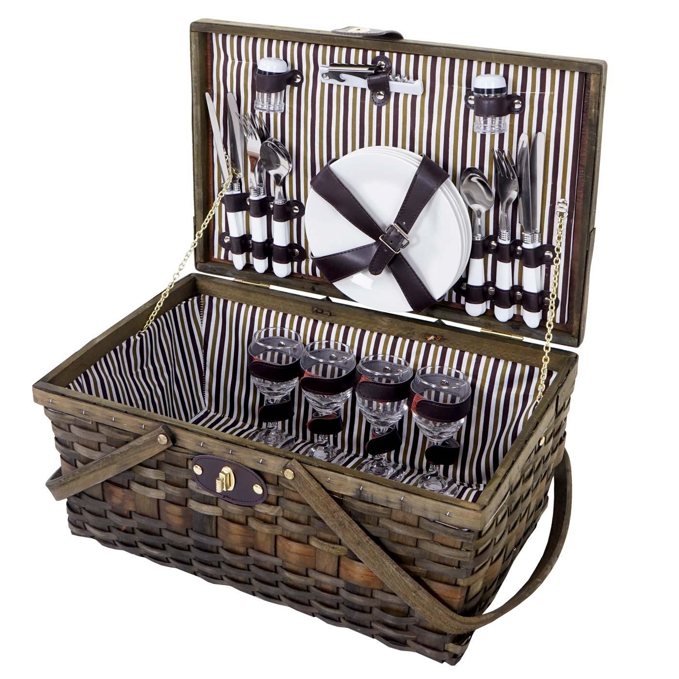 Mendler Picknickkorb-Set für 4 Personen, Picknicktasche Weiden-Korb, Porzellan Glas Edelstahl, braun-weiß ~ 51417