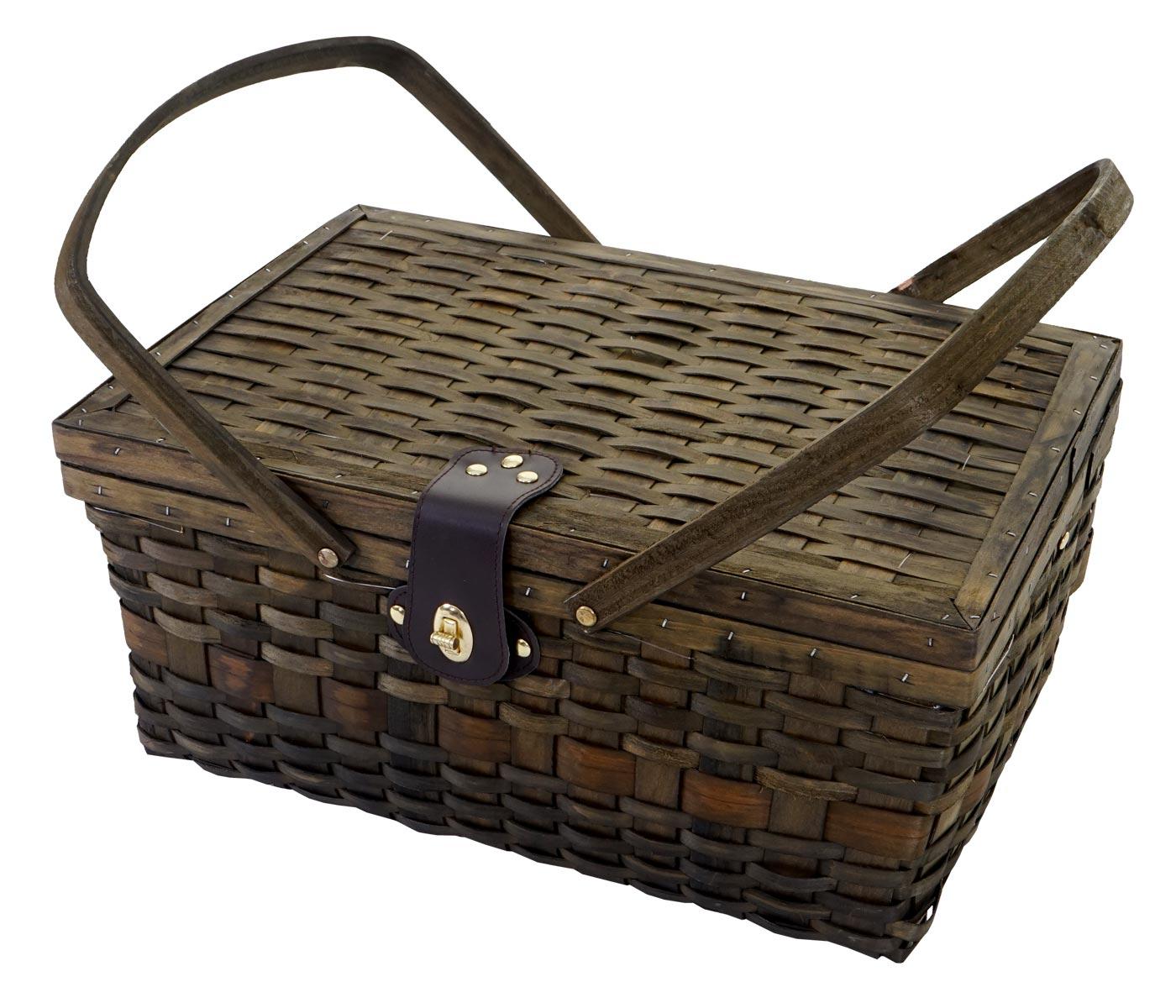picknickkorb set f r 4 personen picknicktasche weiden korb porzellan glas edelstahl braun wei. Black Bedroom Furniture Sets. Home Design Ideas