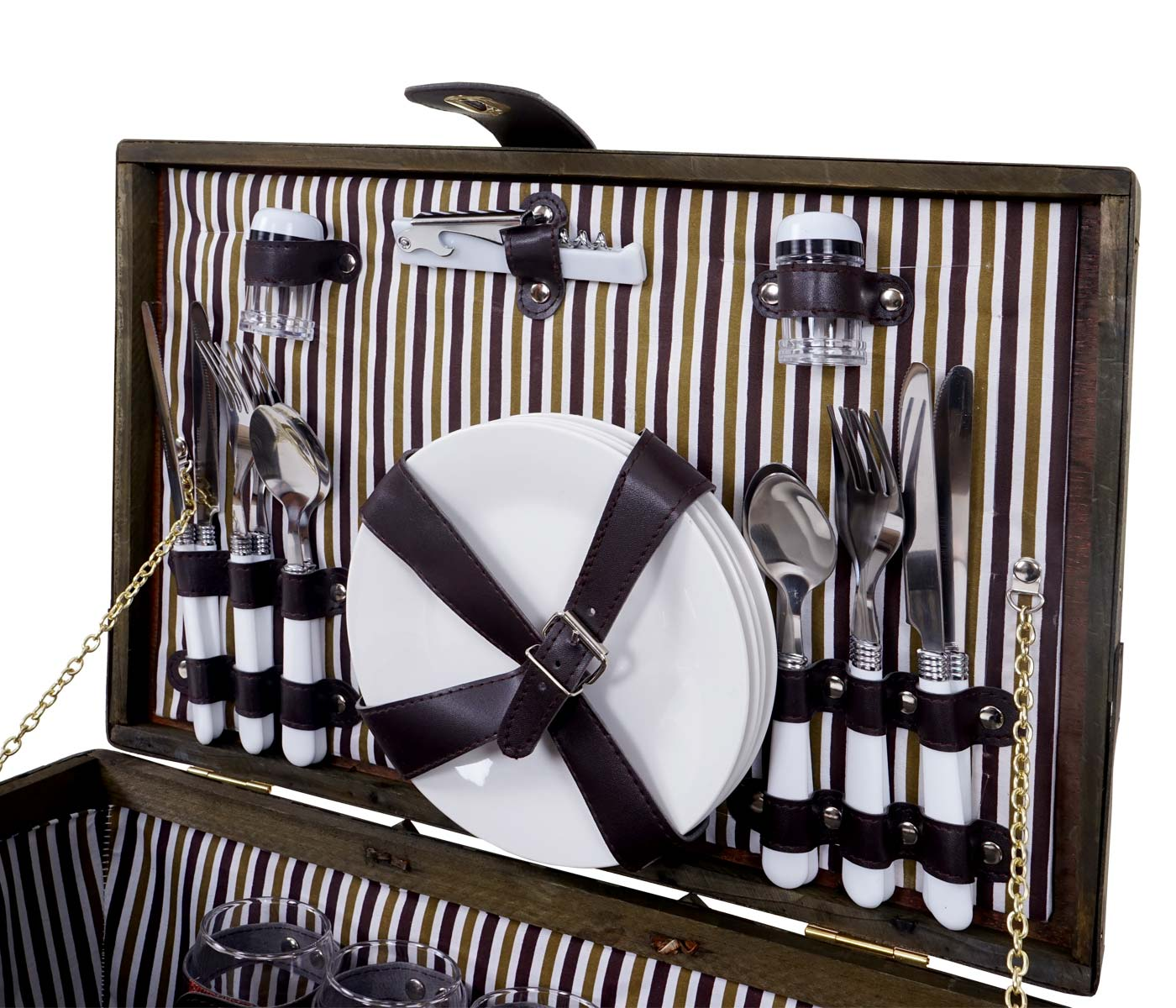picknickkorb set f r 4 personen picknicktasche weiden korb porzellan glas edelstahl braun wei. Black Bedroom Furniture Sets. Home Design Ideas