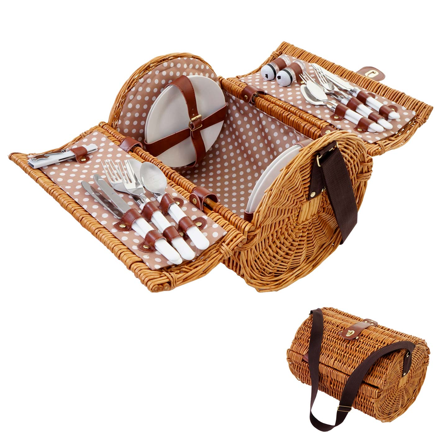 Mendler Picknickkorb-Set für 4 Personen, Picknicktasche Weiden-Korb, Porzellan Edelstahl, beige-weiß ~ Varia 51418