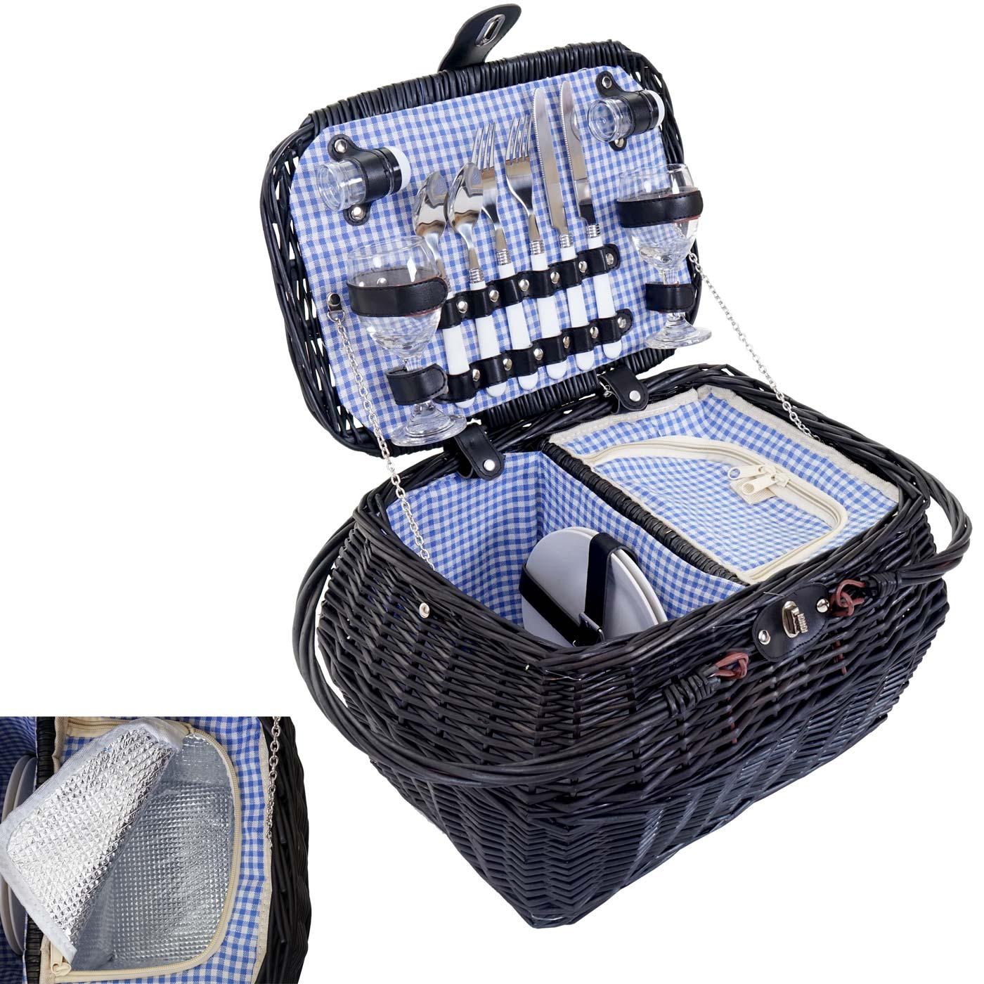Mendler Picknickkorb-Set für 2 Personen, Picknicktasche + Kühlfach, Porzellan Glas Edelstahl, blau-weiß ~ Va 51420