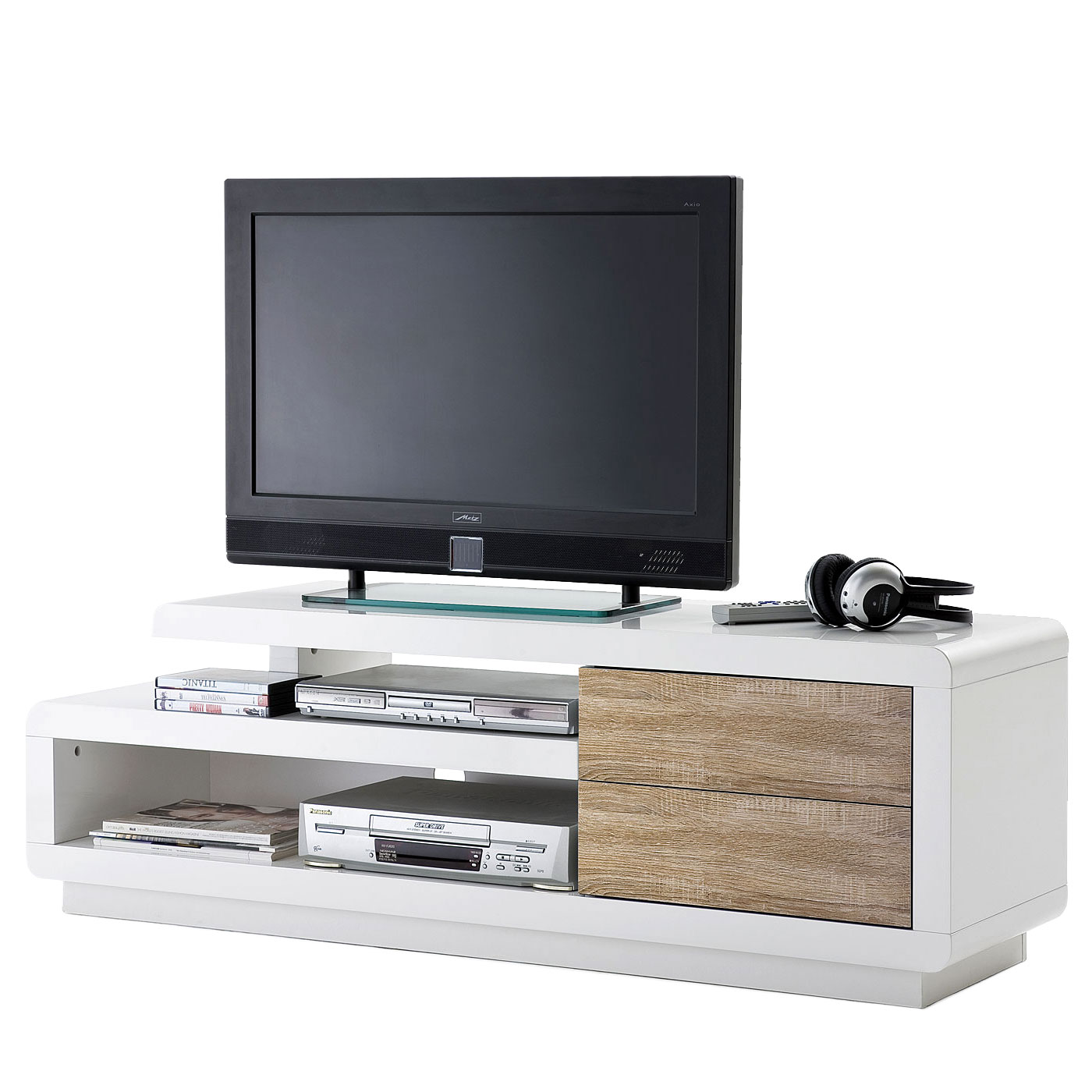 mca tv rack cosima lowboard fernsehtisch mit schubladen hochglanz wei 45x142x40cm eiche. Black Bedroom Furniture Sets. Home Design Ideas