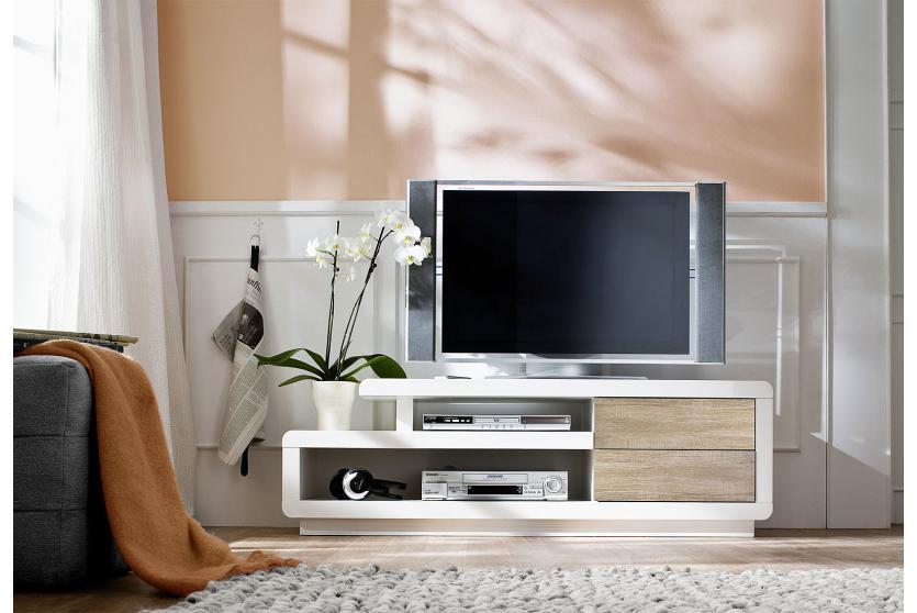 mca tv rack cosima lowboard fernsehtisch mit schubladen hochglanz wei 45x142x40cm eiche. Black Bedroom Furniture Sets. Home Design Ideas