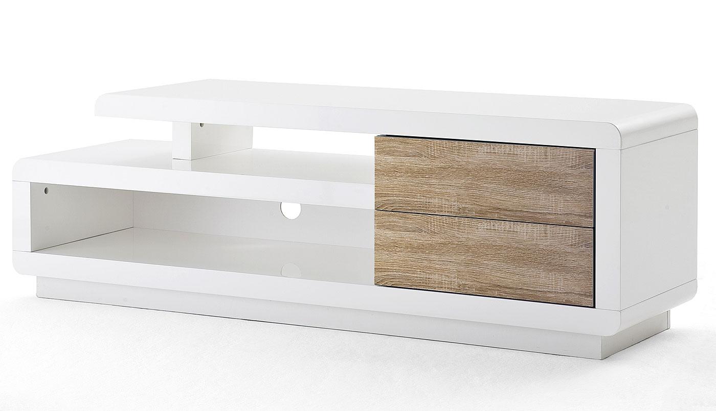 mca tv rack talinn lowboard fernsehtisch mit schubladen hochglanz wei 45x142x40cm eiche. Black Bedroom Furniture Sets. Home Design Ideas