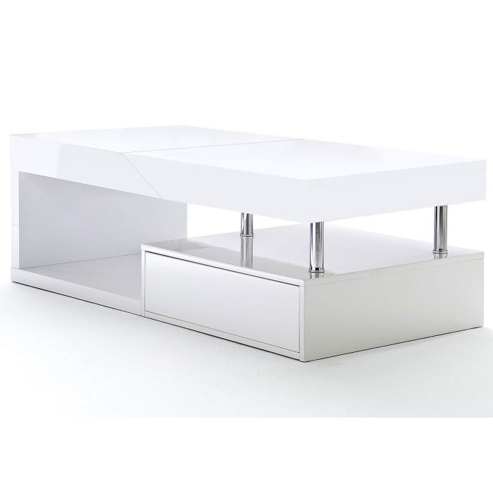 B-Ware (Holzschäden, SK 4)| MCA Couchtisch Hope, Wohnzimmertisch, hochglanz  weiß ausziehbar mit Stauraum ~ Weiß