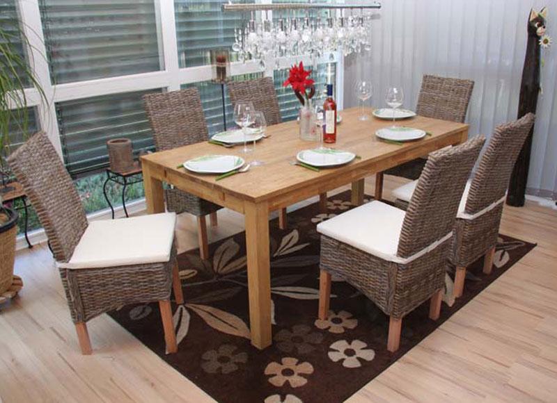 6x esszimmerstuhl korbstuhl stuhl m44 kubu rattan mit sitzkissen. Black Bedroom Furniture Sets. Home Design Ideas