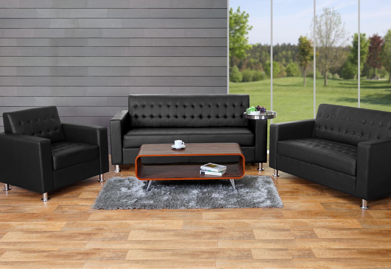3 2 1 sofagarnitur kunda couch loungesofa kunstleder metall f e schwarz. Black Bedroom Furniture Sets. Home Design Ideas