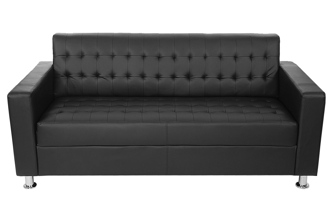 3er sofa pori couch loungesofa kunstleder metall f e schwarz. Black Bedroom Furniture Sets. Home Design Ideas