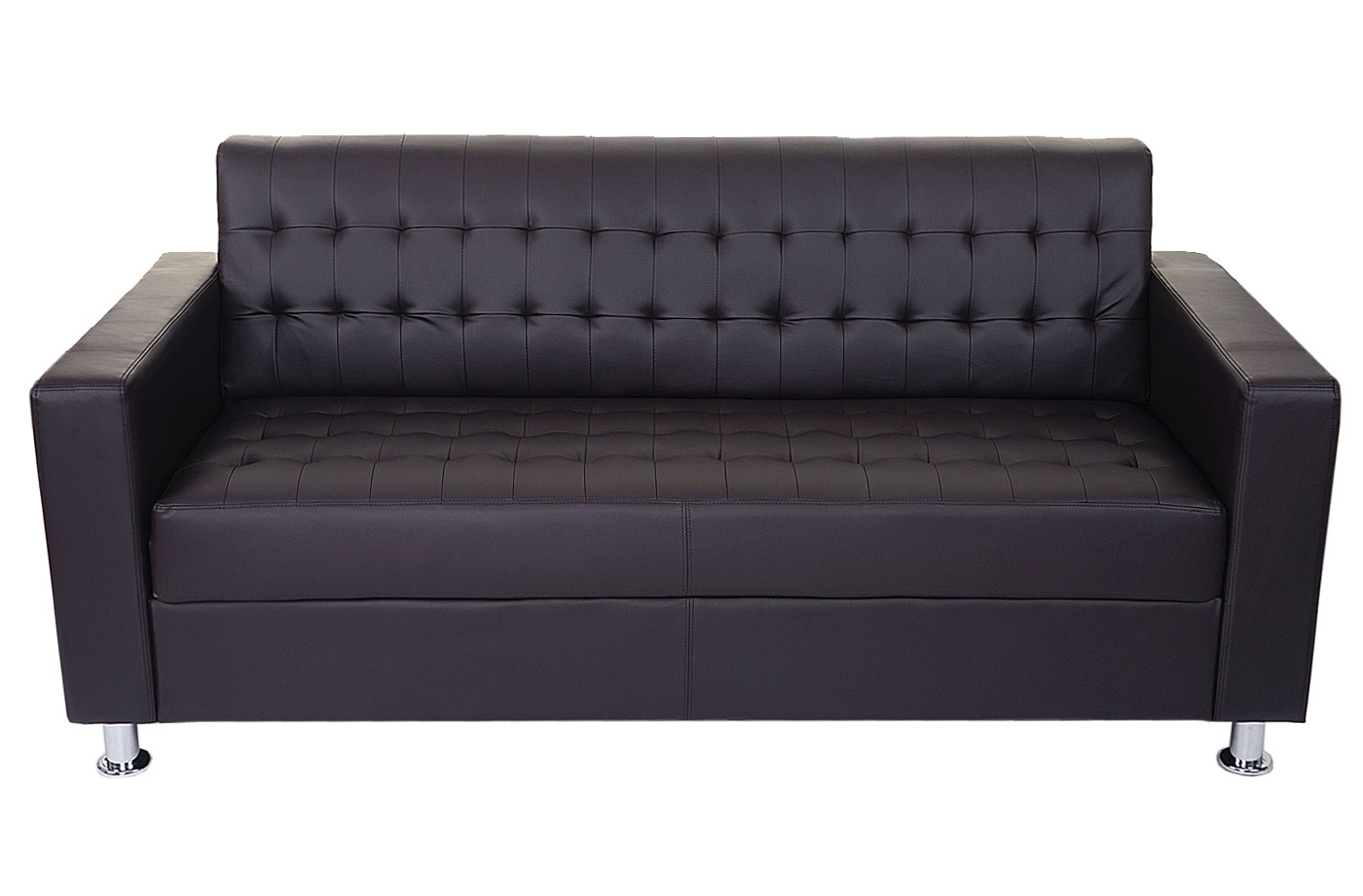 3er sofa kunda couch loungesofa kunstleder metall f e ebay. Black Bedroom Furniture Sets. Home Design Ideas