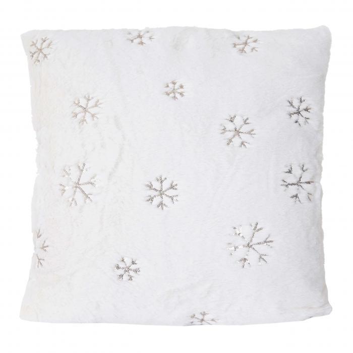 deko kissen schnee sofakissen zierkissen mit f llung flauschig wei pailletten 45x45cm. Black Bedroom Furniture Sets. Home Design Ideas