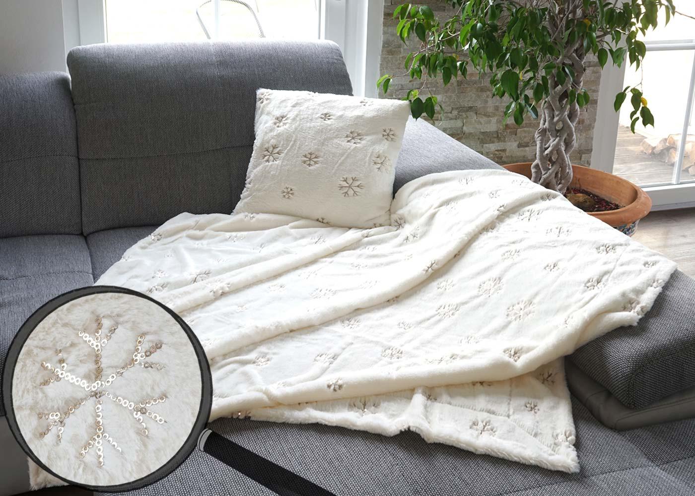 set wohndecke deko kissen schnee kuscheldecke sofadecke zierkissen f llung flauschig pailletten. Black Bedroom Furniture Sets. Home Design Ideas