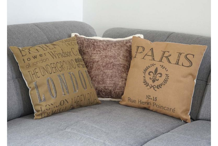 deko kissen paris sofakissen zierkissen mit f llung braun 45x45cm. Black Bedroom Furniture Sets. Home Design Ideas