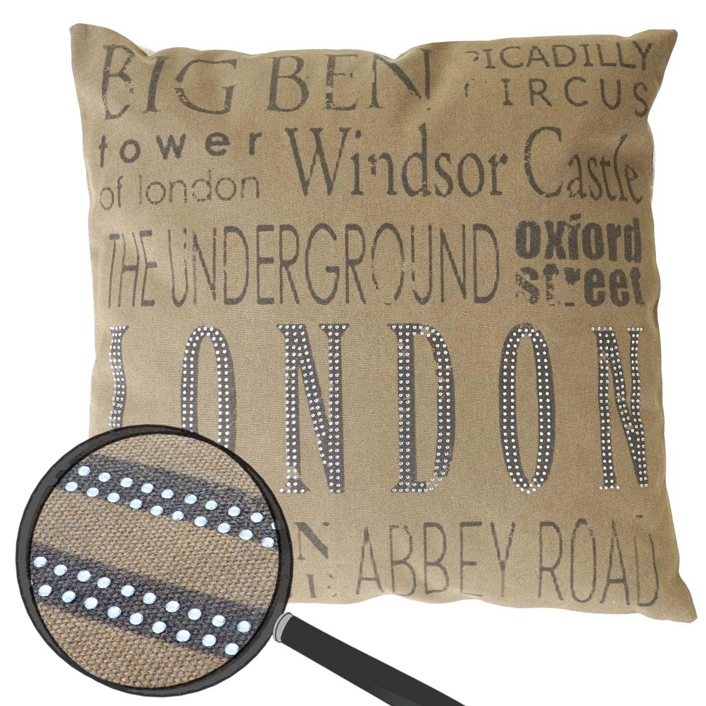 deko kissen london sofakissen zierkissen mit f llung braun glitzersteine 45x45cm. Black Bedroom Furniture Sets. Home Design Ideas
