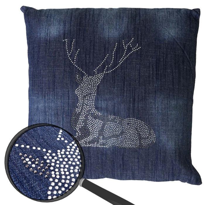 deko kissen hirsch sofakissen zierkissen mit f llung blau glitzersteine 45x45cm. Black Bedroom Furniture Sets. Home Design Ideas