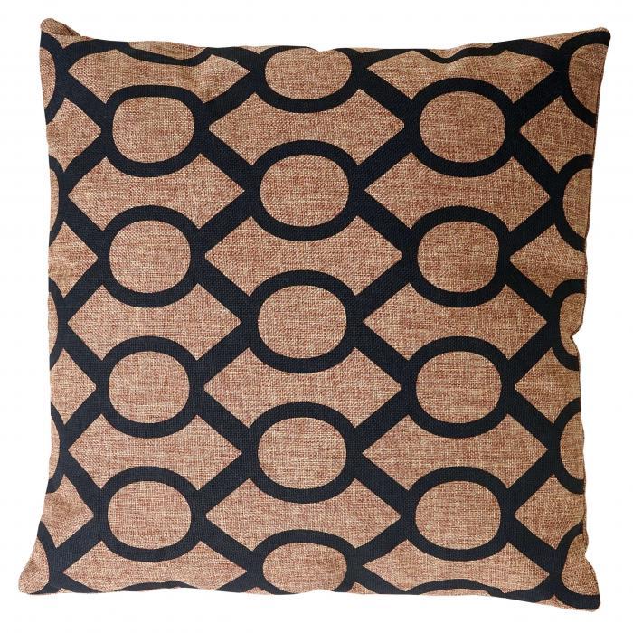 deko kissen kreise sofakissen zierkissen mit f llung braun schwarz 45x45cm. Black Bedroom Furniture Sets. Home Design Ideas