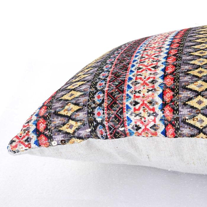 deko kissen bunt sofakissen zierkissen mit f llung pailletten 40x40cm. Black Bedroom Furniture Sets. Home Design Ideas