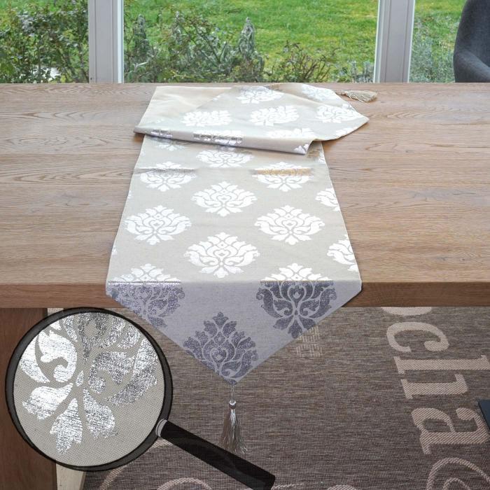 Tischläufer Barock Tischdecke Tischdeko Mitteldecke Beige Silber