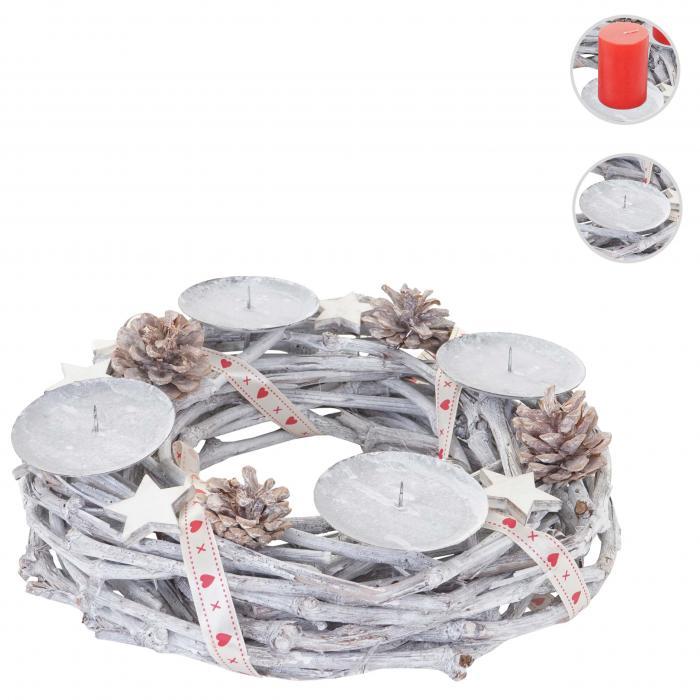 adventskranz rund weihnachtsdeko tischkranz holz 30cm wei grau ohne kerzen. Black Bedroom Furniture Sets. Home Design Ideas