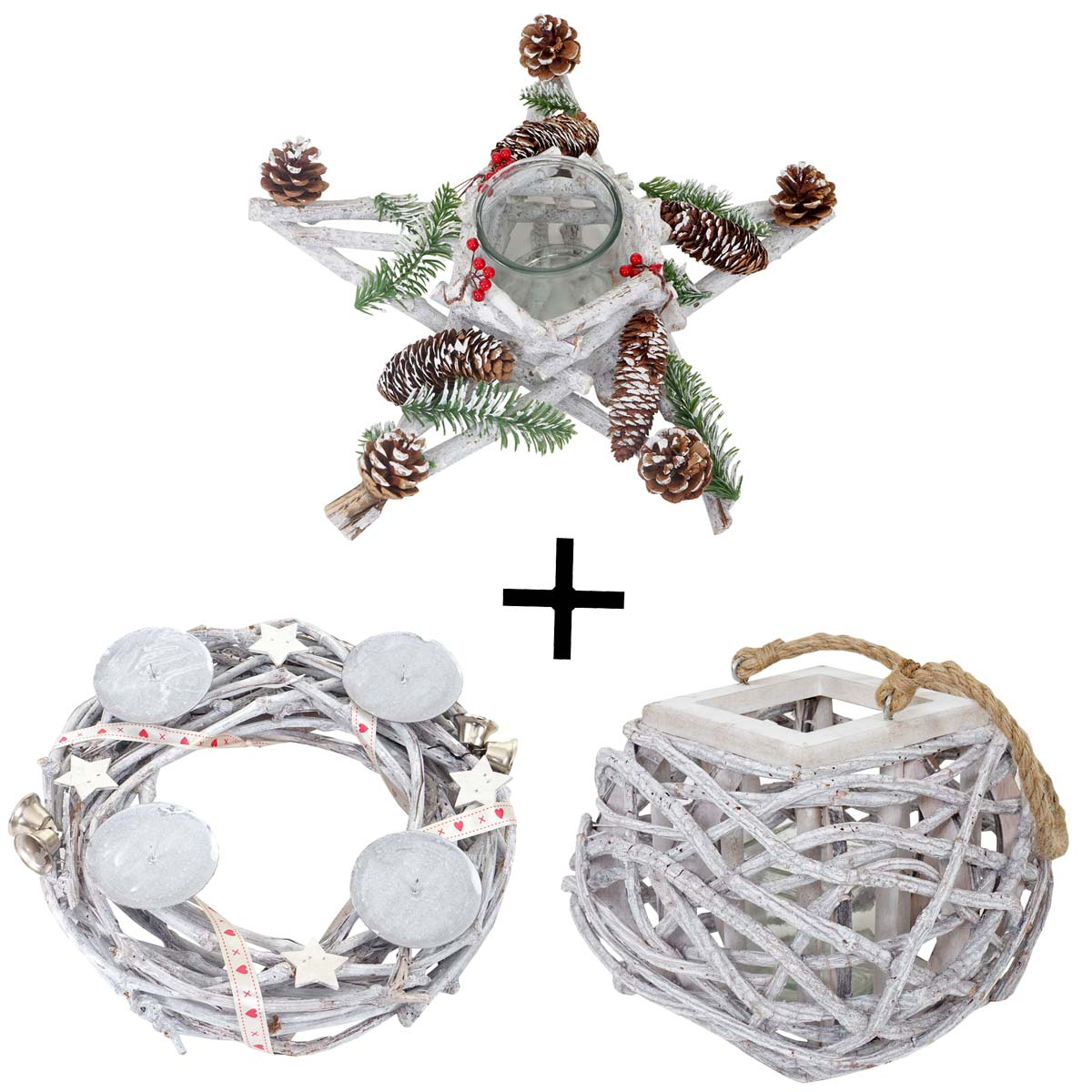 Mendler 3er Set Adventskranz + Windlicht + Gesteck, Weihnachtsdeko Tischkranz Stern mit Glaseinsatz ~ Varian 51908+51911+51910